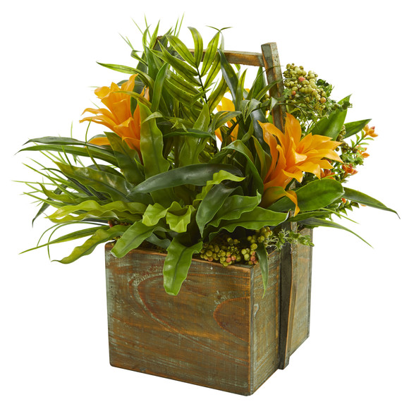 Bromeliad Mixed Greens Artificial Arrangement in Planter - SKU #1670-YL - 1
