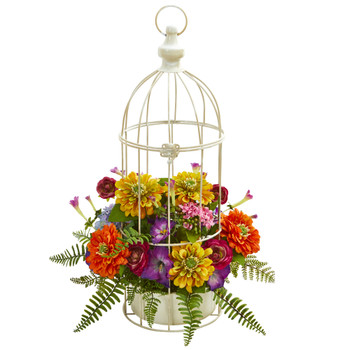 Mix Flower Artificial Arrangement in Birdcage - SKU #1672