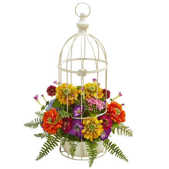 Mix Flower Artificial Arrangement in Birdcage - SKU #1672