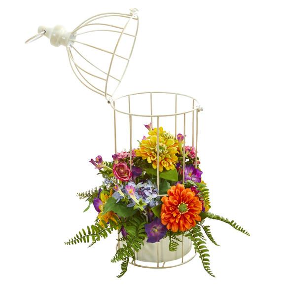 Mix Flower Artificial Arrangement in Birdcage - SKU #1672 - 1