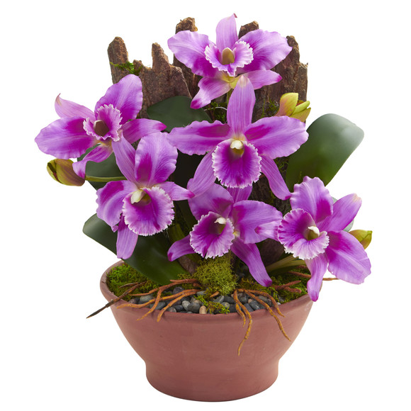 Cattleya Orchid Artificial Arrangement in Clay Vase - SKU #1673 - 1