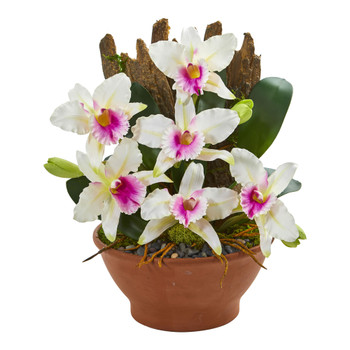 Cattleya Orchid Artificial Arrangement in Clay Vase - SKU #1673