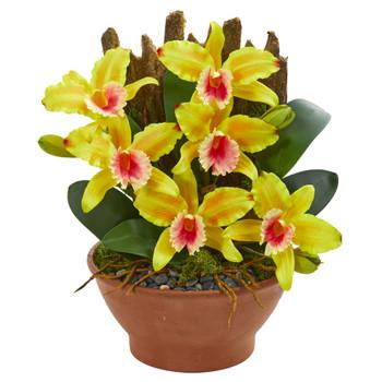Cattleya Orchid Artificial Arrangement in Clay Vase - SKU #1673-YL