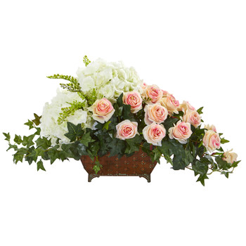 Hydrangea Rose Artificial Arrangement in Metal Planter - SKU #1675-LP