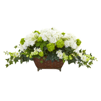 Hydrangea and Ivy Artificial Arrangement - SKU #1676-WH