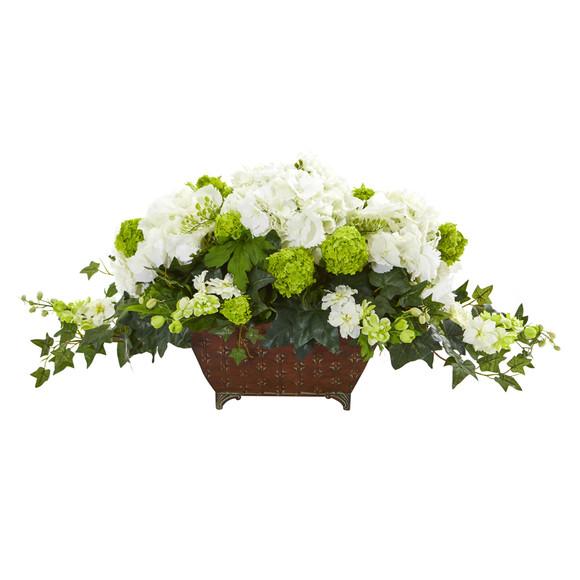 Hydrangea and Ivy Artificial Arrangement - SKU #1676-WH