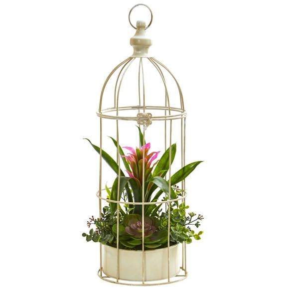 19 Bromeliad Succulent Artificial Arrangement in Bird Cage - SKU #1678 - 1