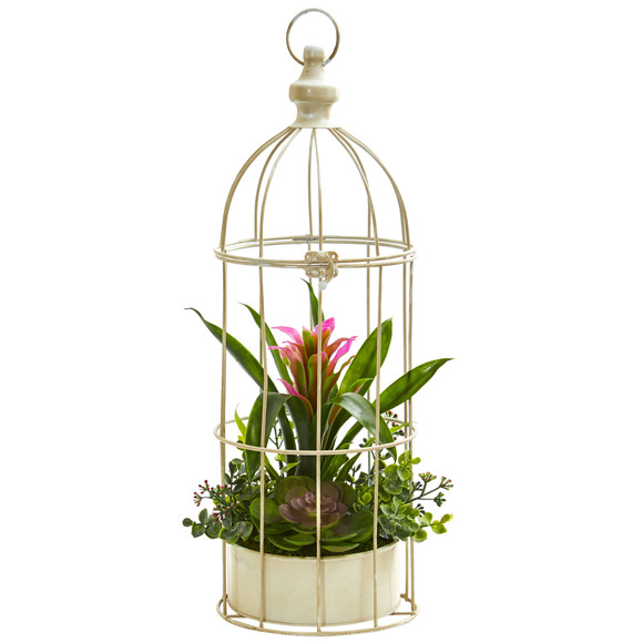 19 Bromeliad Succulent Artificial Arrangement in Bird Cage - SKU #1678 - 1