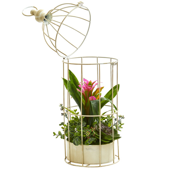 19 Bromeliad Succulent Artificial Arrangement in Bird Cage - SKU #1678 - 2