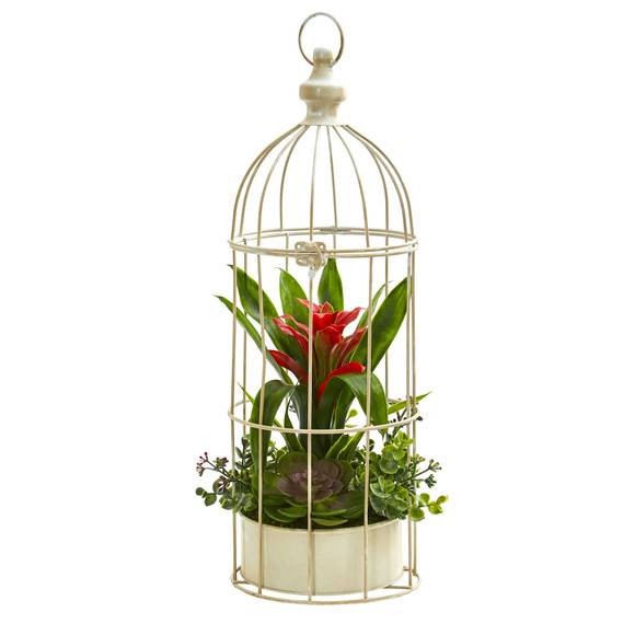 19 Bromeliad Succulent Artificial Arrangement in Bird Cage - SKU #1678