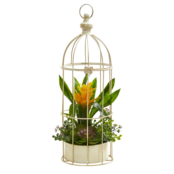 19 Bromeliad Succulent Artificial Arrangement in Bird Cage - SKU #1678 - 3