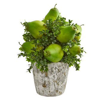 Pears Grass Artificial Arrangement in Weather Planter - SKU #1683