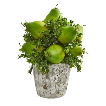 Pears Grass Artificial Arrangement in Weather Planter - SKU #1683
