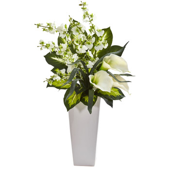 29 Calla Lily Orchid Artificial Arrangement in Black Vase - SKU #1684