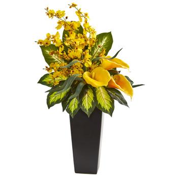 29 Calla Lily Orchid Artificial Arrangement in Black Vase - SKU #1684-YL