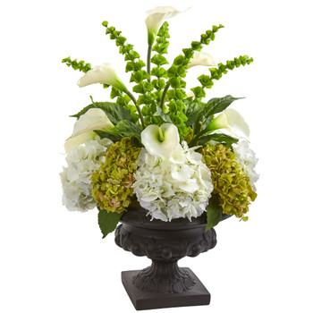3 Hydrangea Mixed Floral Artificial Arrangement in Urn - SKU #1685