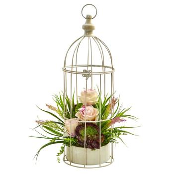 Rose Grass Succulent Artificial Arrangement in Bird Cage - SKU #1687