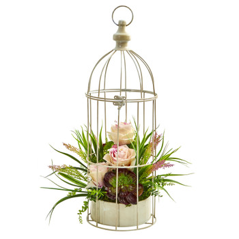 Rose Grass Succulent Artificial Arrangement in Bird Cage - SKU #1687