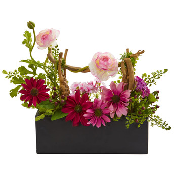 Daisy Ranunculus Artificial Arrangement in Black Vase - SKU #1688