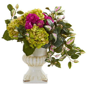 Rose Hydrangea and Hoya Artificial Arrangement in Ceramic Urn - SKU #1689
