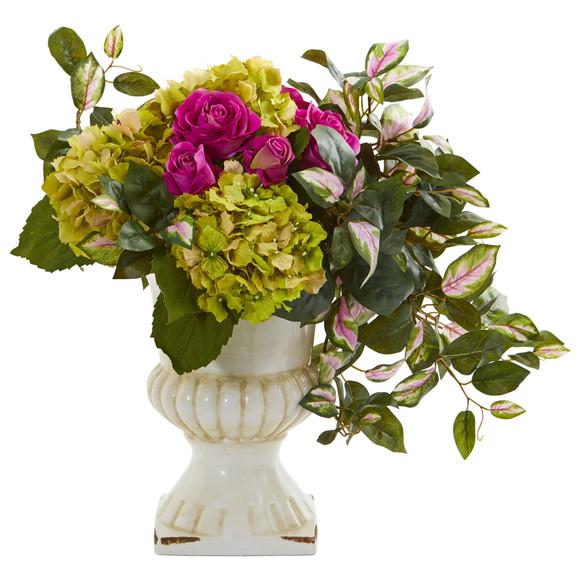 Rose Hydrangea and Hoya Artificial Arrangement in Ceramic Urn - SKU #1689