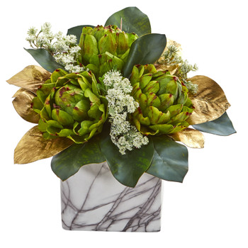 Golden Magnolias Artichokes Artificial Arrangement in Marble Finished Planter - SKU #1690