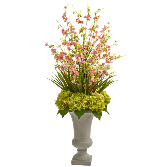 Cherry Blossom Hydrangeas Artificial Arrangement in Urn - SKU #1691 - 3