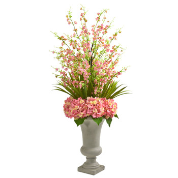 Cherry Blossom Hydrangeas Artificial Arrangement in Urn - SKU #1691