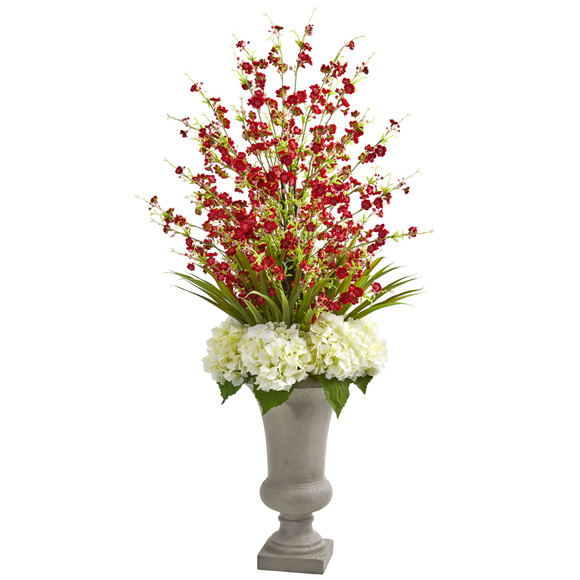Cherry Blossom Hydrangeas Artificial Arrangement in Urn - SKU #1691-RD