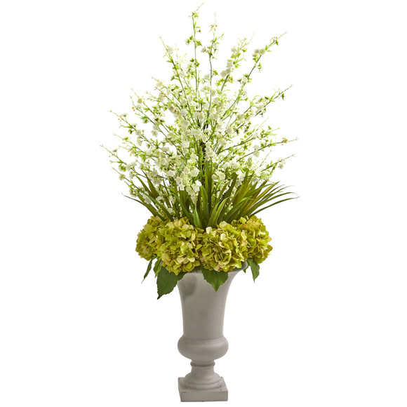 Cherry Blossom Hydrangeas Artificial Arrangement in Urn - SKU #1691 - 2