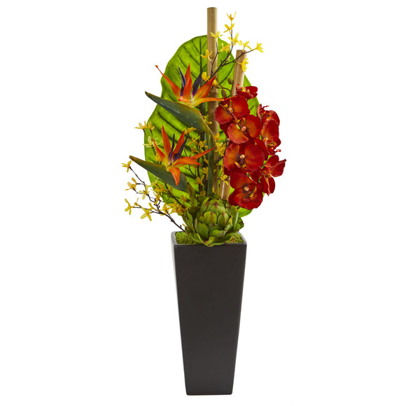 32 Tropical Orchid Bird of Paradise and Artichoke Artificial Arrangement - SKU #1692