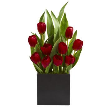 Tulips Artificial Arrangement in Black Vase - SKU #1693-RD