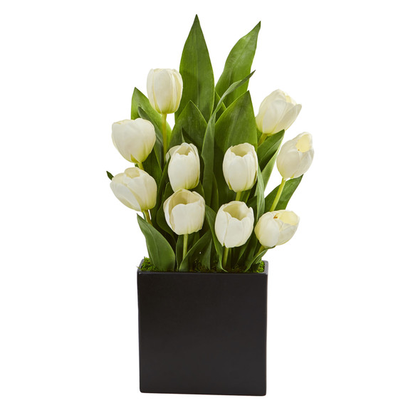Tulips Artificial Arrangement in Black Vase - SKU #1693-WH