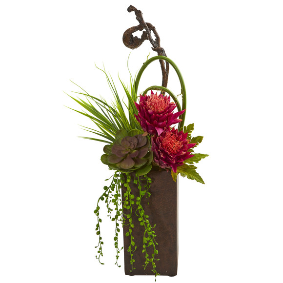 Tropical Succulent Artificial Arrangement in Brown Vase - SKU #1694