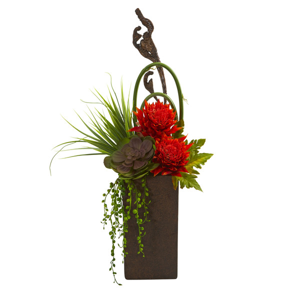 Tropical Succulent Artificial Arrangement in Brown Vase - SKU #1694-OR