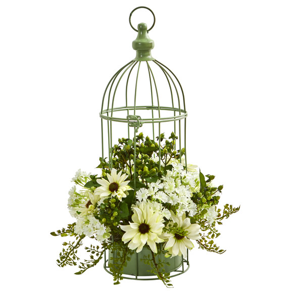 Daisy Artificial Arrangement in Decorative Bird Cage - SKU #1695 - 1