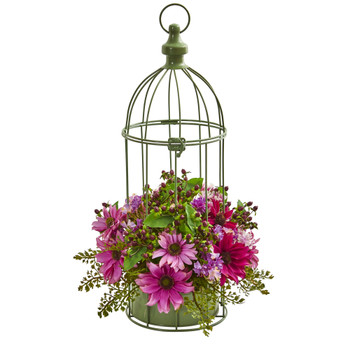 Daisy Artificial Arrangement in Decorative Bird Cage - SKU #1695