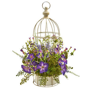 Morning Glory Artificial Arrangement in Decorative Bird Cage - SKU #1696