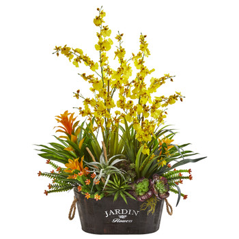 33 Orchid Bromeliad Succulent Garden Artificial Arrangement - SKU #1698-YL