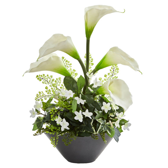 Calla Lily Stephanotis Artificial Arrangement in Ceramic Vase - SKU #1699-WH