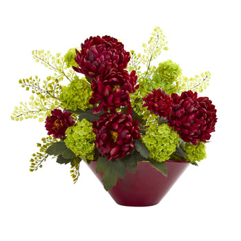 Mums Hydrangeas Artificial Arrangement in Red Vase - SKU #1700-BG