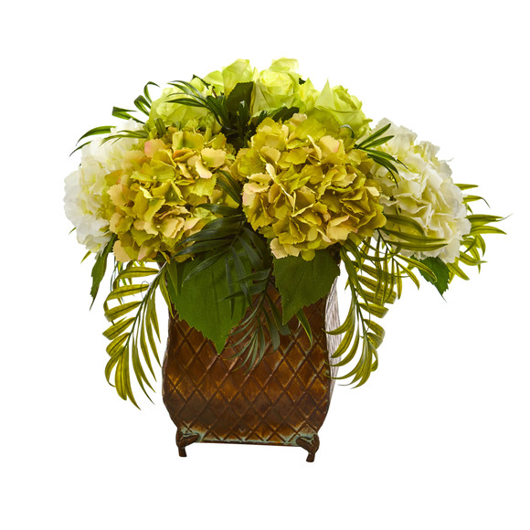 Roses and Hydrangea Artificial Arrangement in Metal Planter - SKU #1701 - 6