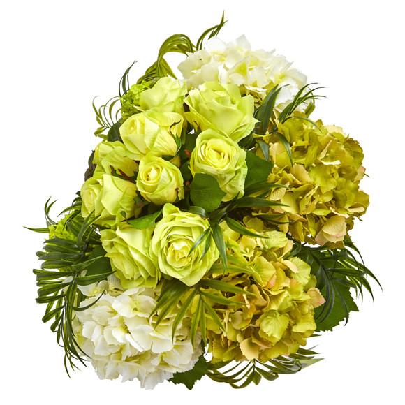 Roses and Hydrangea Artificial Arrangement in Metal Planter - SKU #1701 - 7