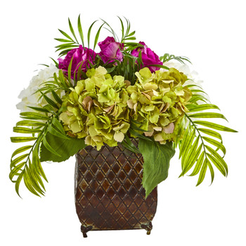 Roses and Hydrangea Artificial Arrangement in Metal Planter - SKU #1701-PP