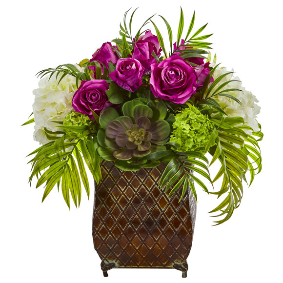 Roses and Hydrangea Artificial Arrangement in Metal Planter - SKU #1701 - 2