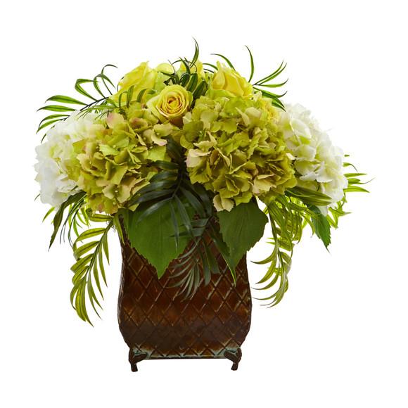 Roses and Hydrangea Artificial Arrangement in Metal Planter - SKU #1701 - 3