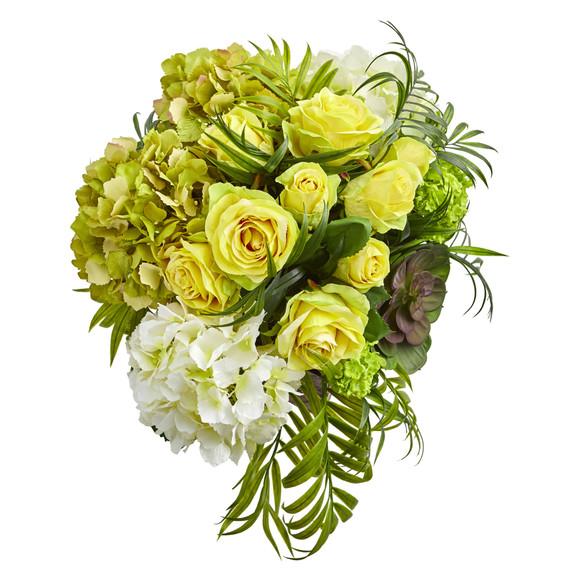 Roses and Hydrangea Artificial Arrangement in Metal Planter - SKU #1701 - 4
