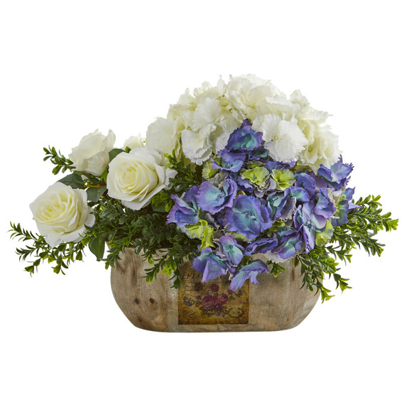 Rose and Hydrangea Artificial Arrangement - SKU #1702