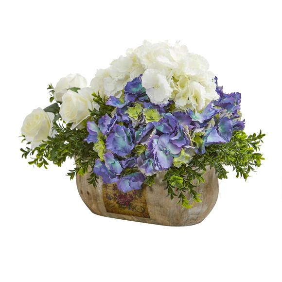 Rose and Hydrangea Artificial Arrangement - SKU #1702 - 1