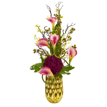 Calla Lily and Mum Artificial Arrangement in Gold Colored Vase - SKU #1703